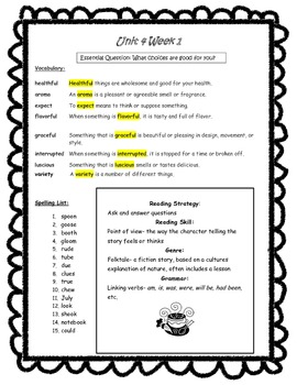 Wonders Reading 3rd Grade Unit 4 Study Guides