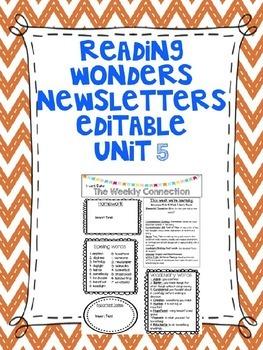 Wonders Reading Editable Third Grade Weekly Newsletter Unit 5