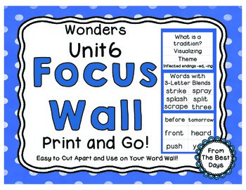 Wonders Reading Grade 1:  Focus Wall, Unit 6