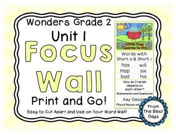 Wonders Reading Grade 2:  Focus Wall, Unit 1