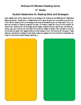 Wonders Reading Skills and Strategies Bookmarks