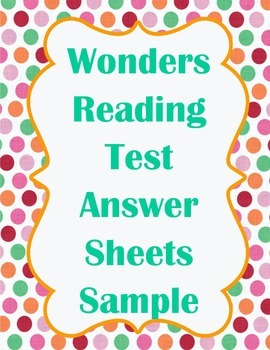 4th grade Wonders Reading Test Answer Sheet Sample