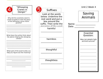 Wonders Reading Unit 2 Week 4 Trifold