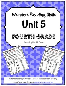 Wonders Reading Unit 5 Skill, Vocab, and Spelling List (4t