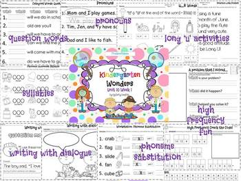 Wonders Reading for Kindergarten: Unit 10 Week 1 Extension