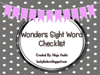 Wonders Sight Word Checklist