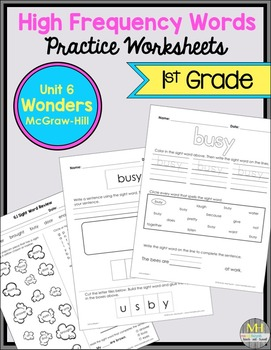 Wonders Sight Word Worksheets: Unit 6