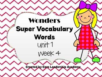 Wonders  Super Vocabulary Word Cards Unit 1 Week 4