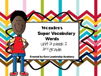 Wonders  Super Vocabulary Word Cards Unit 3 Week 2