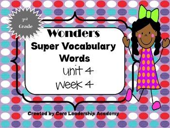 Wonders  Super Vocabulary Word Cards Unit 4 Week 4