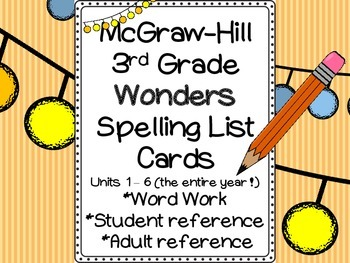 Wonders Spelling Cards (3rd Grade): Word Work, Student and