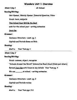 Wonders Unit 1 First Grade Overview for Teachers