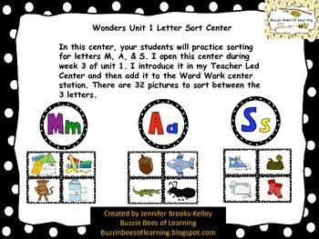 Wonders Unit 1 Letter Sort Center (M, A, & S)