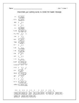 Wonders Unit 1 Spelling Word Scrambles