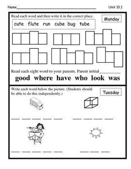 Wonders Unit 10 Week 1 Reading/Math Homework (What's the B