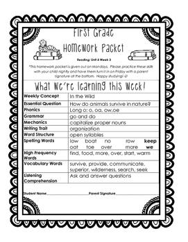 Wonders Unit 4 Week 3 Homework Packet