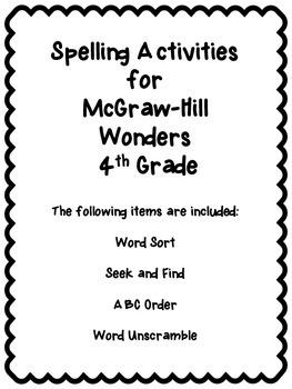 Wonders Unit 4 Week 4 Spelling Review