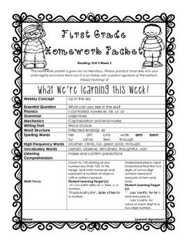 Wonders Unit 5 Week 2 First Grade Homework Packet
