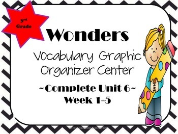 Wonders Vocabulary  Graphic Organizer Center Complete~ Unit 6 1-5