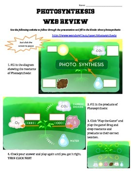 Wonderville.ca accompanying review page for Photosynthesis video
