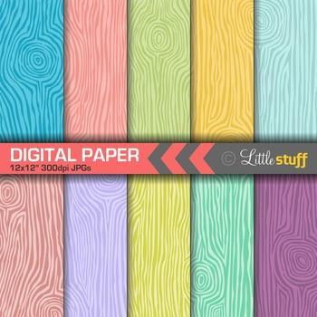Wood Grain Digital Backgrounds, Tropical Colors, Wood Patt