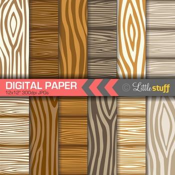 Wood Grain Digital Backgrounds, Wood Pattern Digital Paper