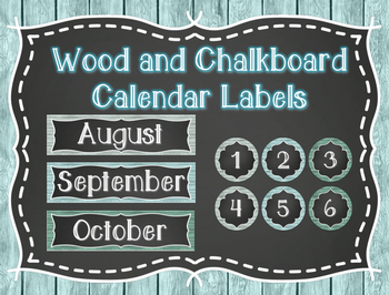 Wood and Chalkboard Calendar Labels
