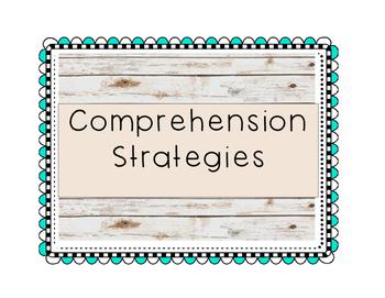 Wood background/aqua squiggly frame-Comprehension Strategi