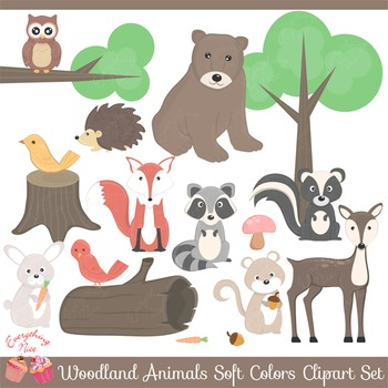 Wood land Woodland Animals Soft Colors Clipart Set