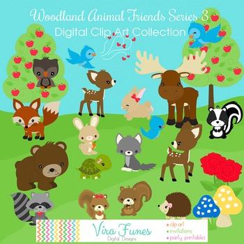Woodland Animal Friends Series 3 Digital Clipart, clip art