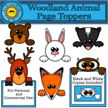 Woodland Animal Toppers Clip Art