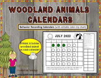 Woodland Animals Behavior Clip Chart Calendars 2016-2017