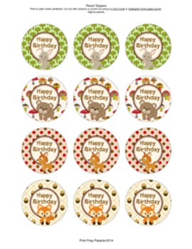 Woodland Forest Animals Birthday Pencil Toppers