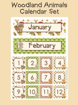 Woodland Forest Animals Calendar Set - Months - Days - Numbers