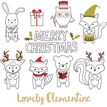 Woodland Animals Christmas Digital Stamps