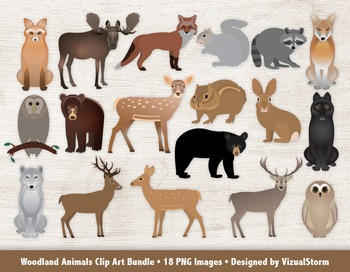 Woodland Animals Clip Art Bundle, 18 Hand Drawn Forrest An