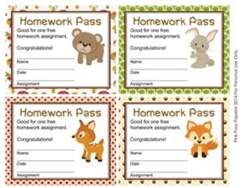 Woodland Forest Animals Homework Passes