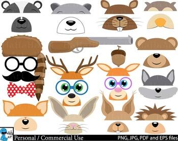 Woodland Animals Props v1 Clip Art Digital Files Personal
