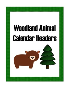 Woodland Animals:: Woodland CalendarThemed Months