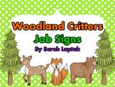 Woodland Critters Classroom Job Signs Chart