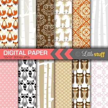 Woodland Digital Paper, Birch Forest Digital Papers, Birch