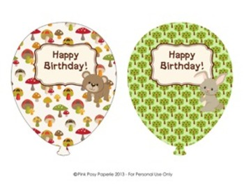 Woodland Forest Animals Birthday Balloons - 4 designs - fo