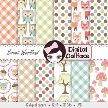 Woodland Forest Digital Paper / Fox & Owl Background Patterns
