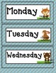 Woodland Forest theme  days of the week- Bonus Owls set as