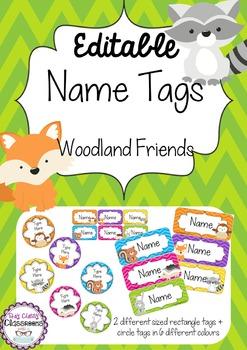 Woodland Friends Editable Name Tags / Desk Plates - Rainbo