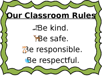 Woodland Themed Classroom Rules