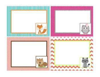 Word Wall Woodland Blank Cards