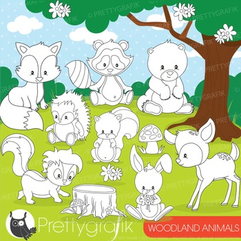Woodland animals stamps commercial use, vector graphics, i