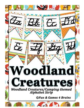 Woodland creatures (Camping) themed Cursive Alphabet Strip