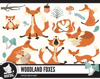Woodland foxes clipart pack